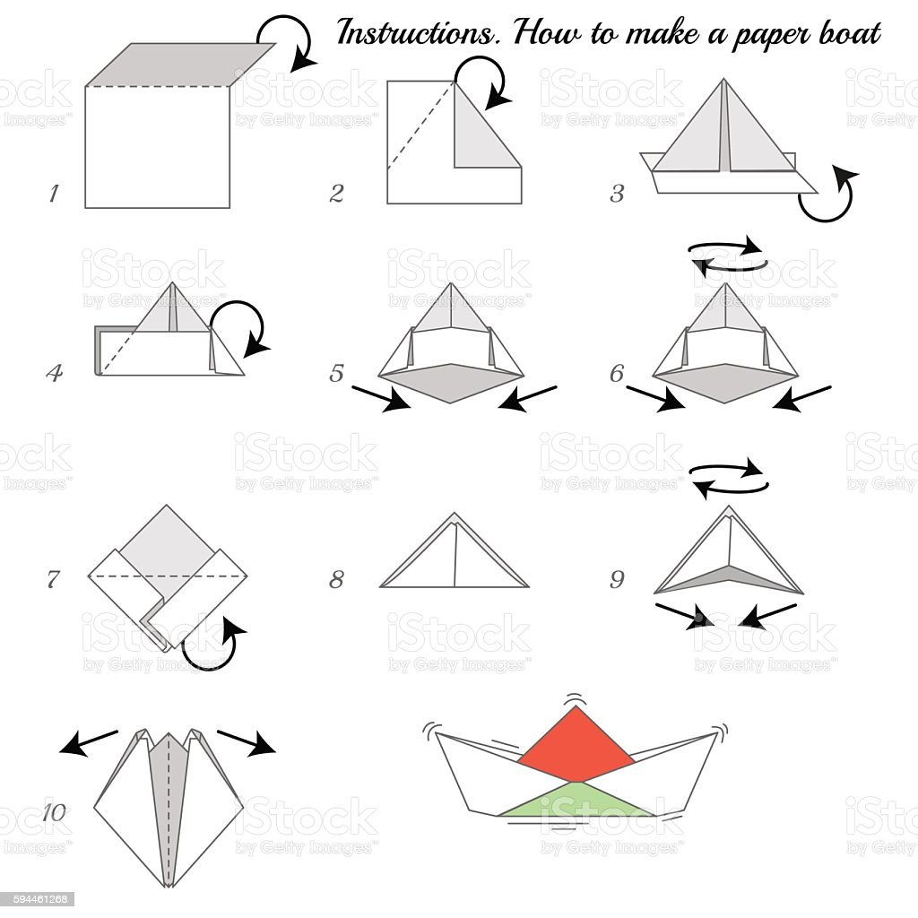 Paper Ship Instructions vector art illustration