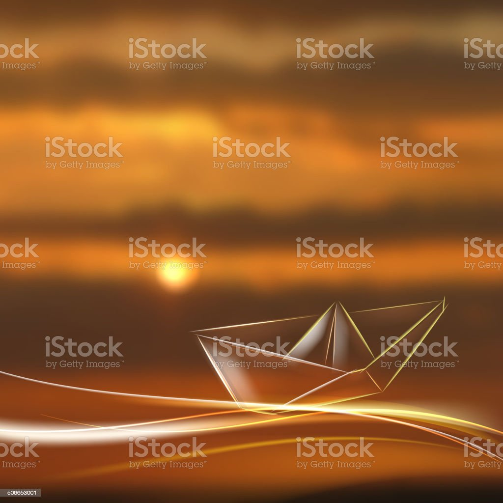 Paper ship origami. royalty-free stock vector art