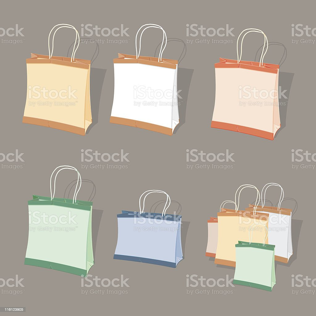 Paper Shopping Bags royalty-free stock vector art