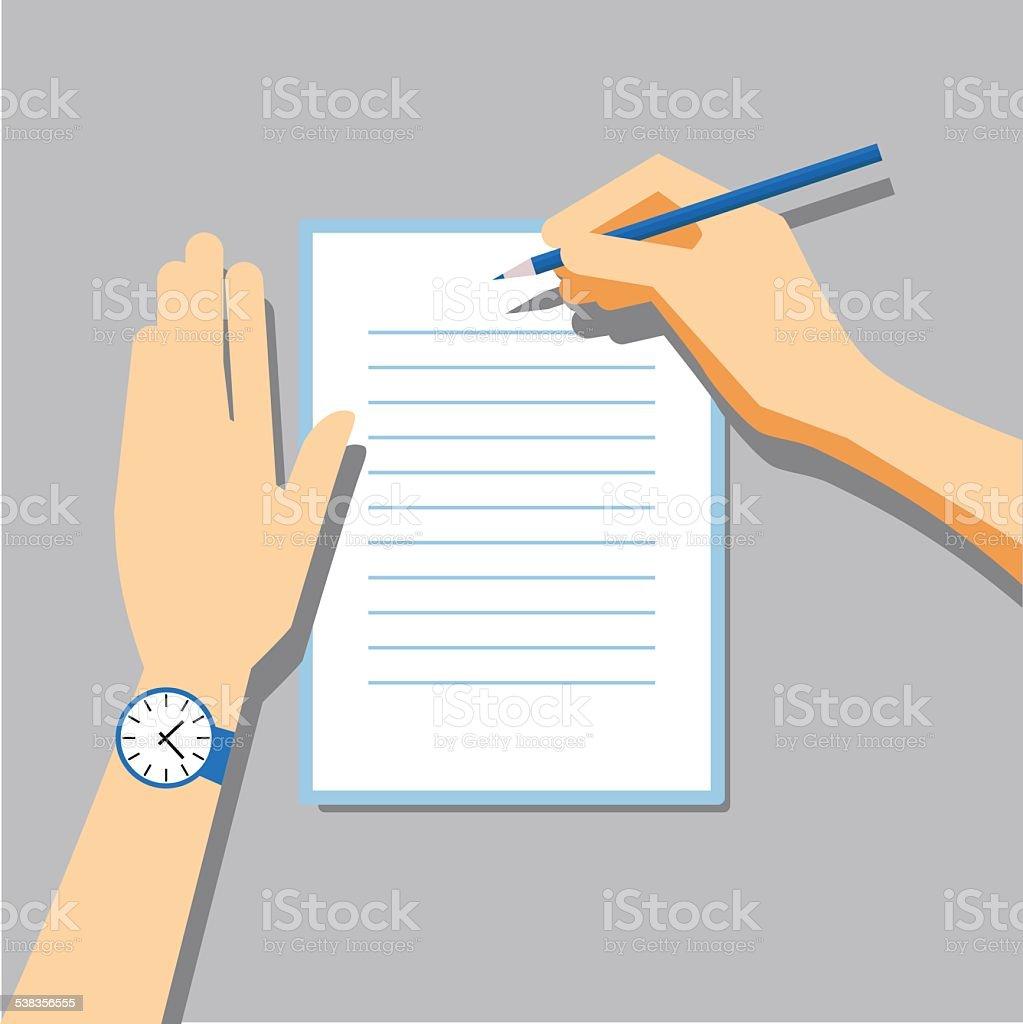 Paper Signing Flat Vector Illustration vector art illustration