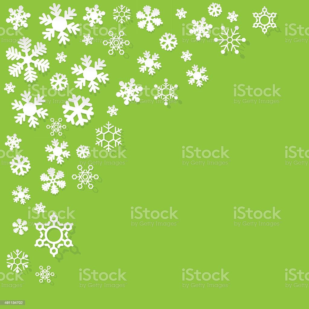 Paper snowflakes on a green background. vector art illustration