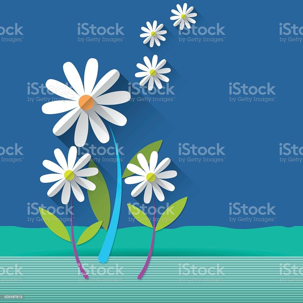 Paper spring tree .Daisy flower vector art illustration