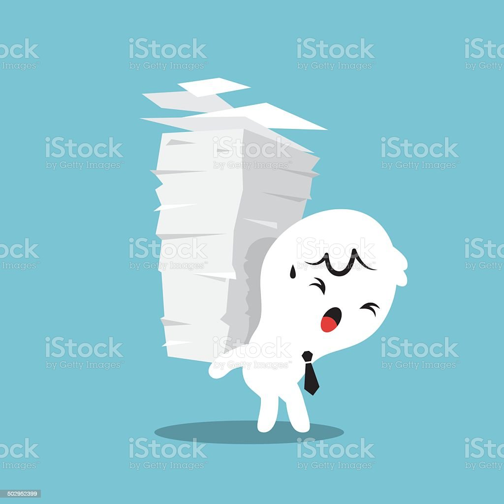 Paper Stack Work Load vector art illustration