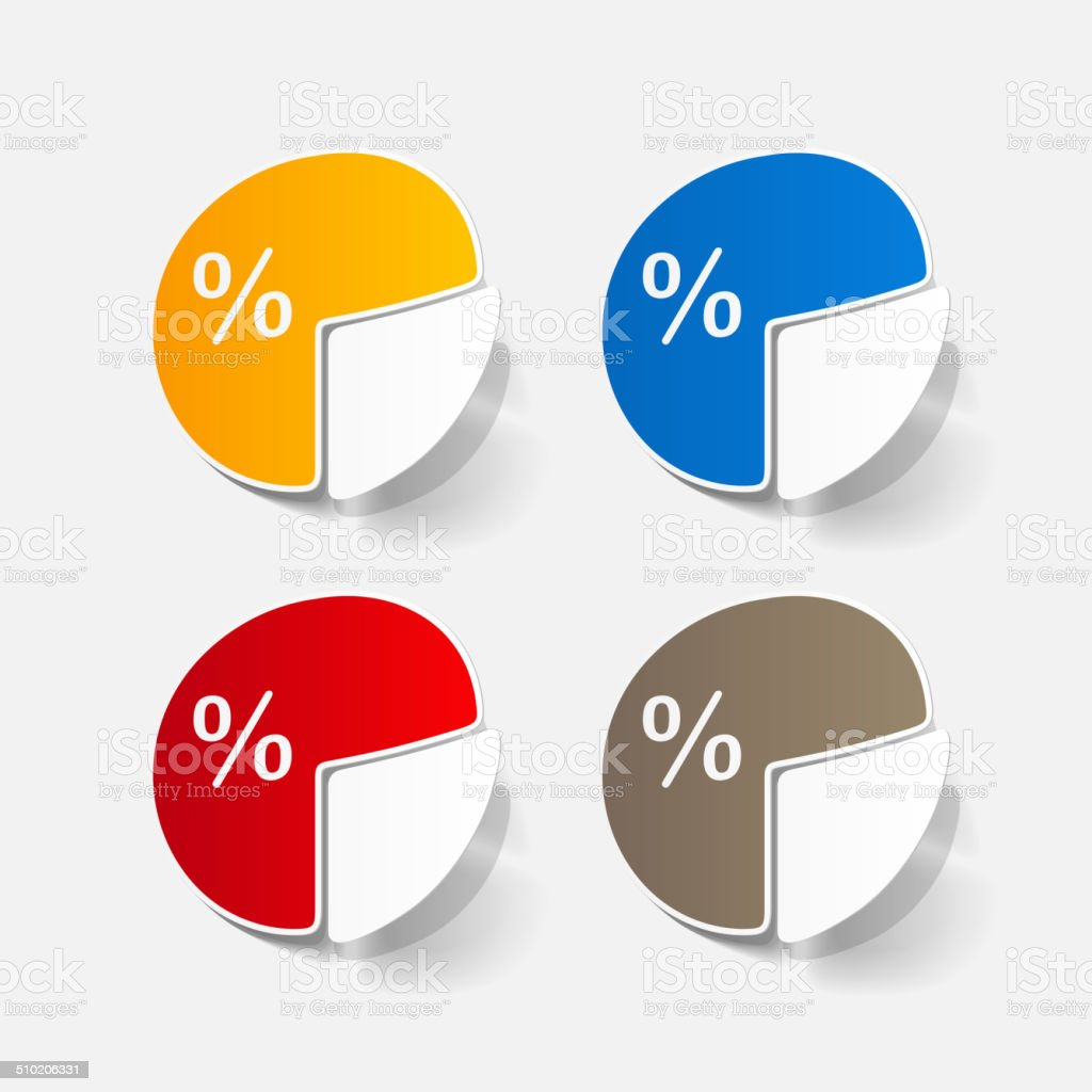 paper sticker: Business pie chart vector art illustration