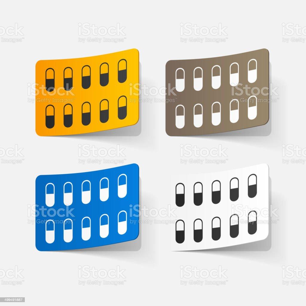 paper sticker: pill royalty-free stock vector art