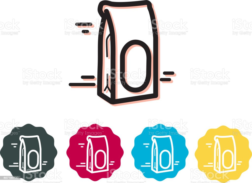 Paper Take Away Bag vector art illustration