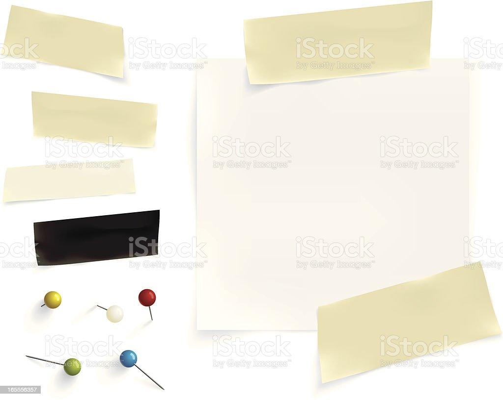 paper, tape & pins vector art illustration