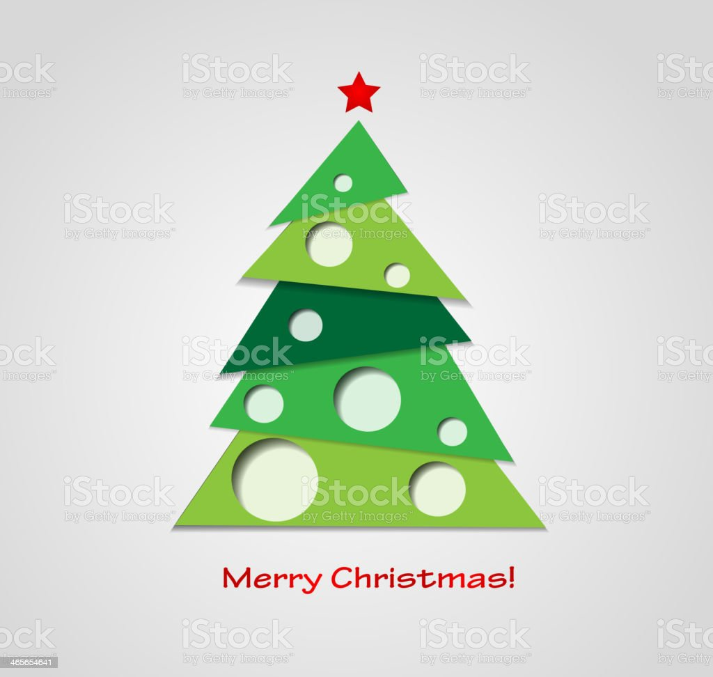 A paper textured Christmas tree on a background royalty-free stock vector art