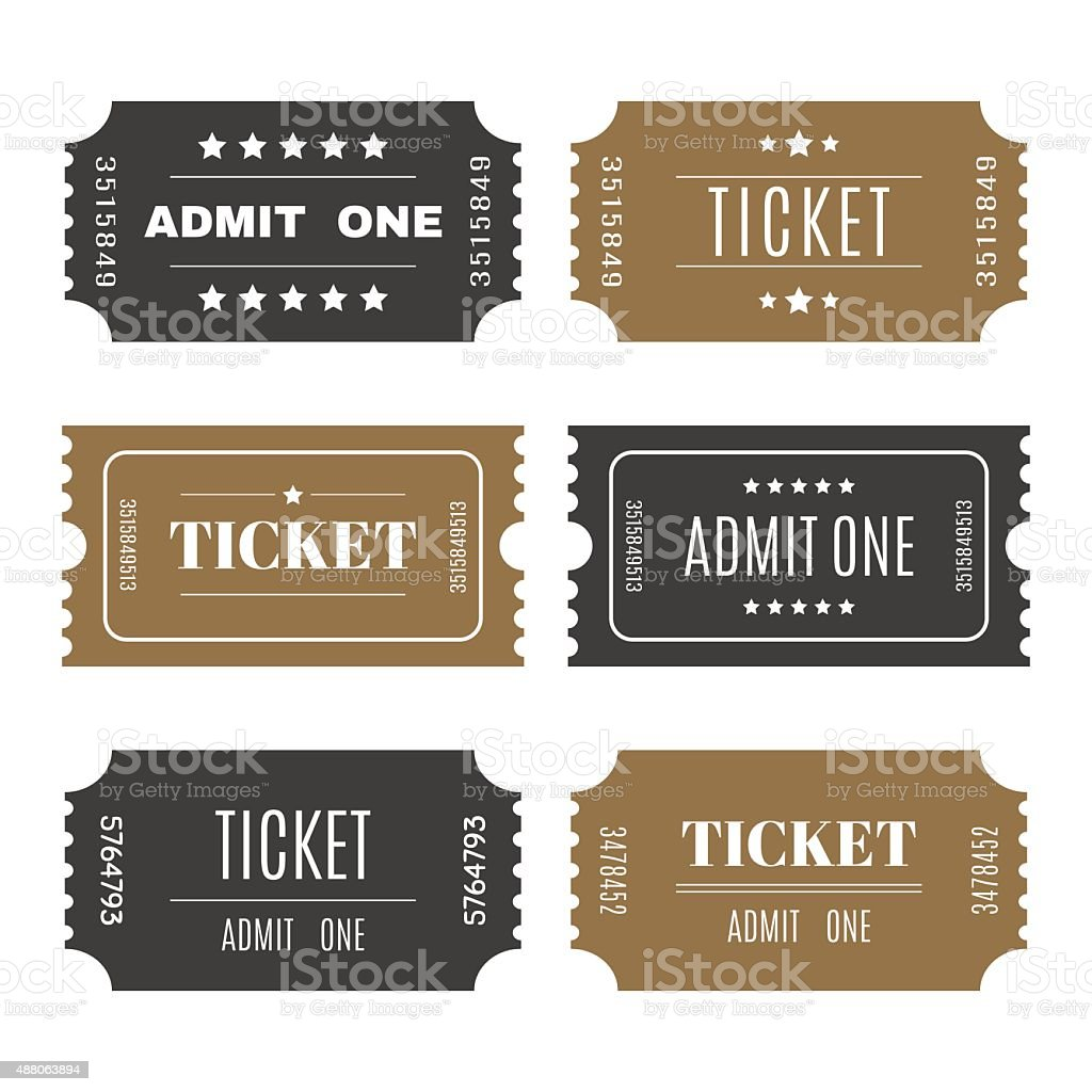 Paper tickets with numbers. Set of vector templates entry ticket vector art illustration