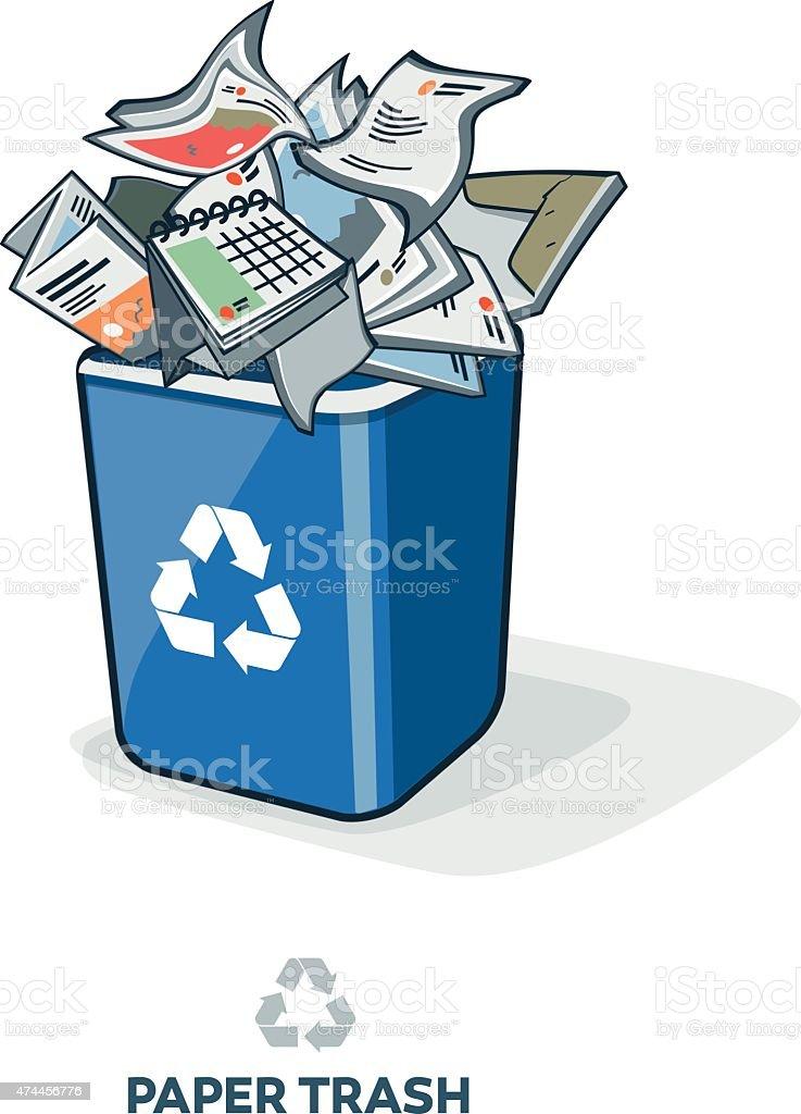 Paper Trash in Recycling Bin vector art illustration