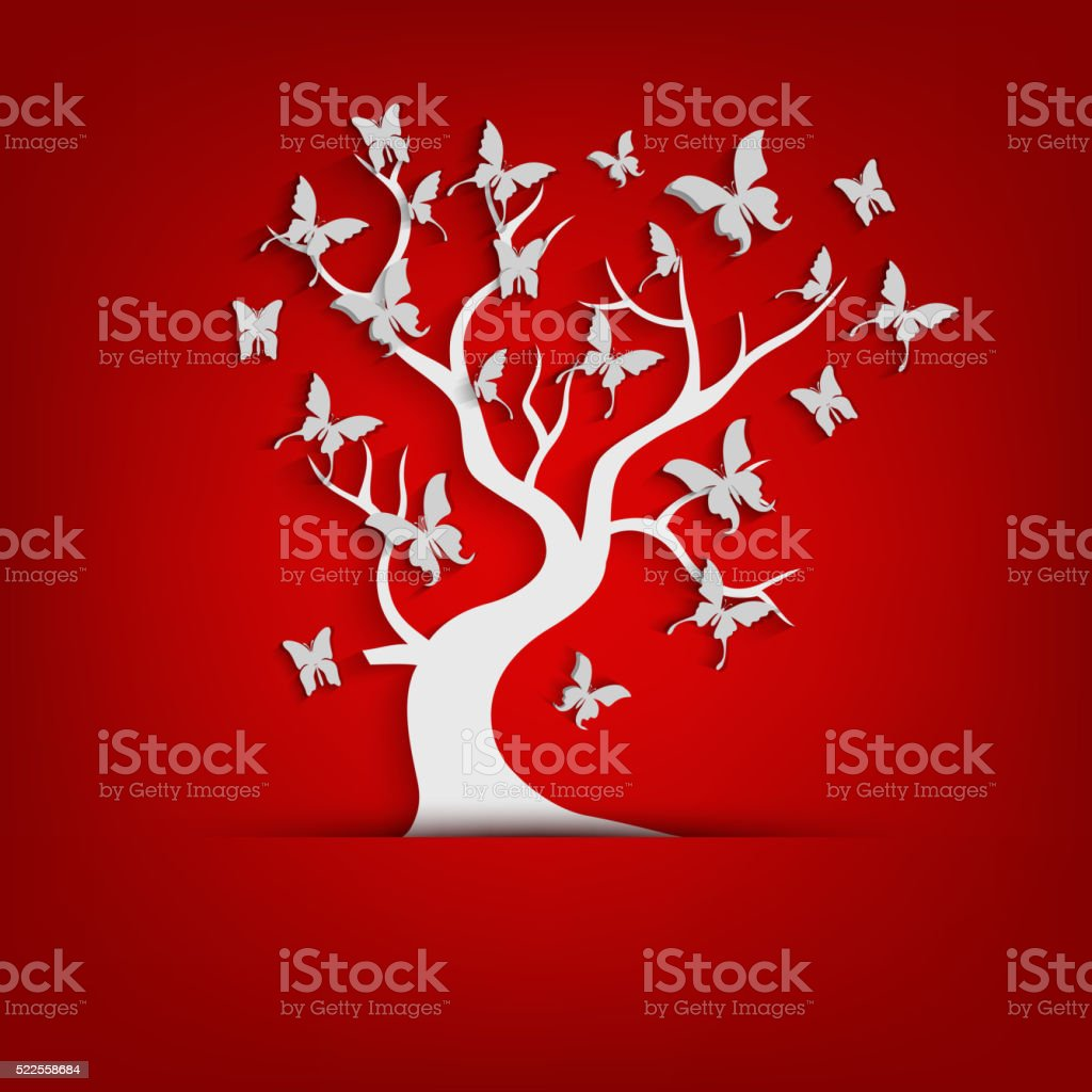 Paper tree and butterflies on red background vector art illustration