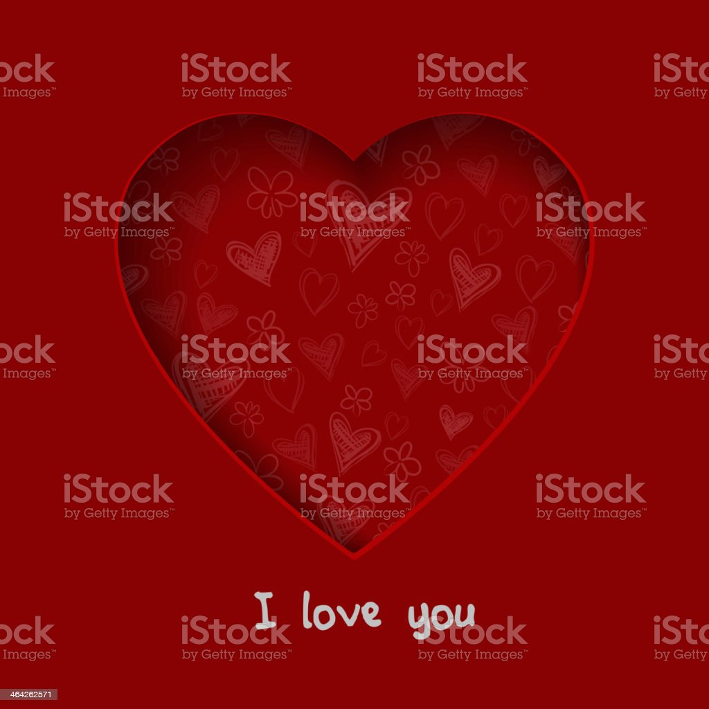 Paper Valentines day card with hearts royalty-free stock vector art