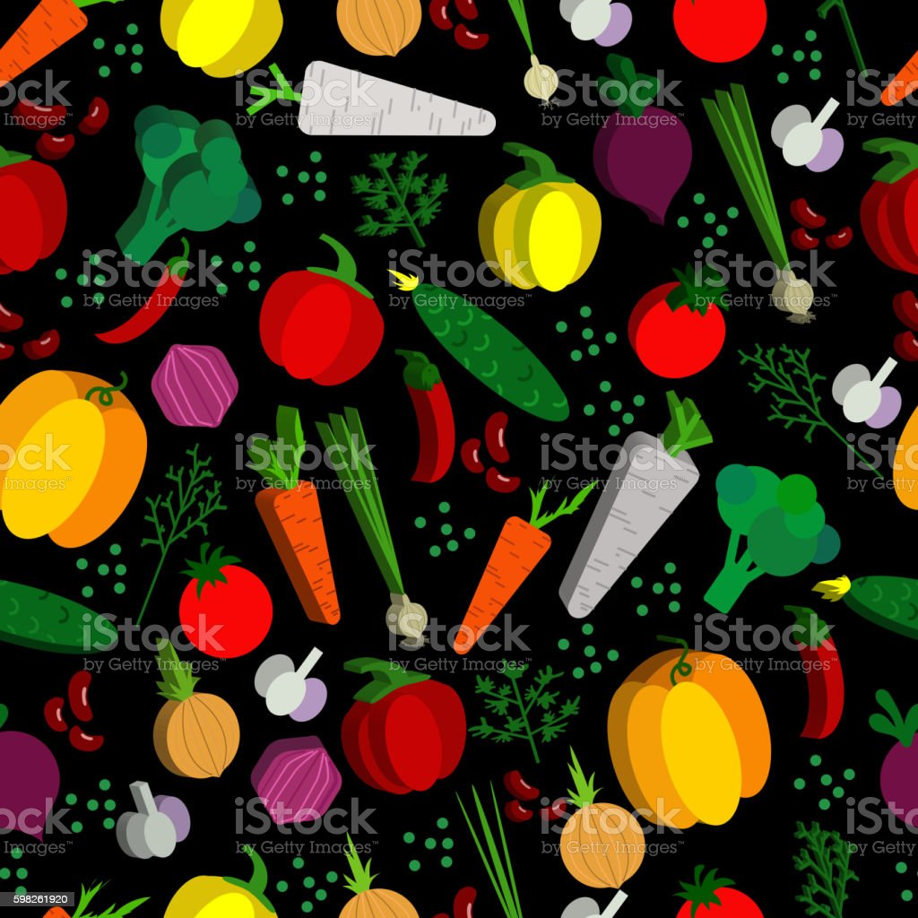 Paper vegetables flat style seamless pattern on a background. Vector vector art illustration