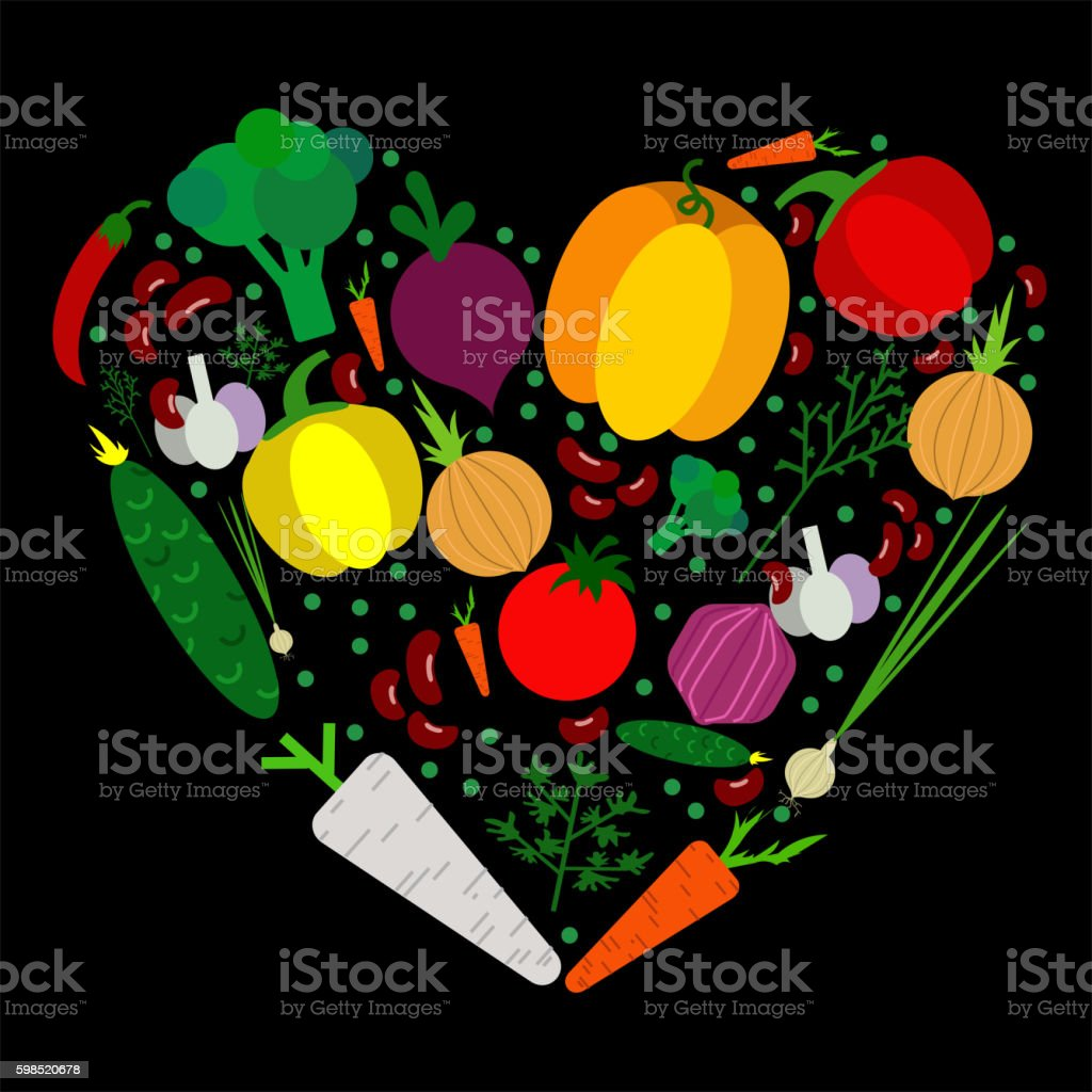 Paper vegetables flat style set in heart on a background vector art illustration