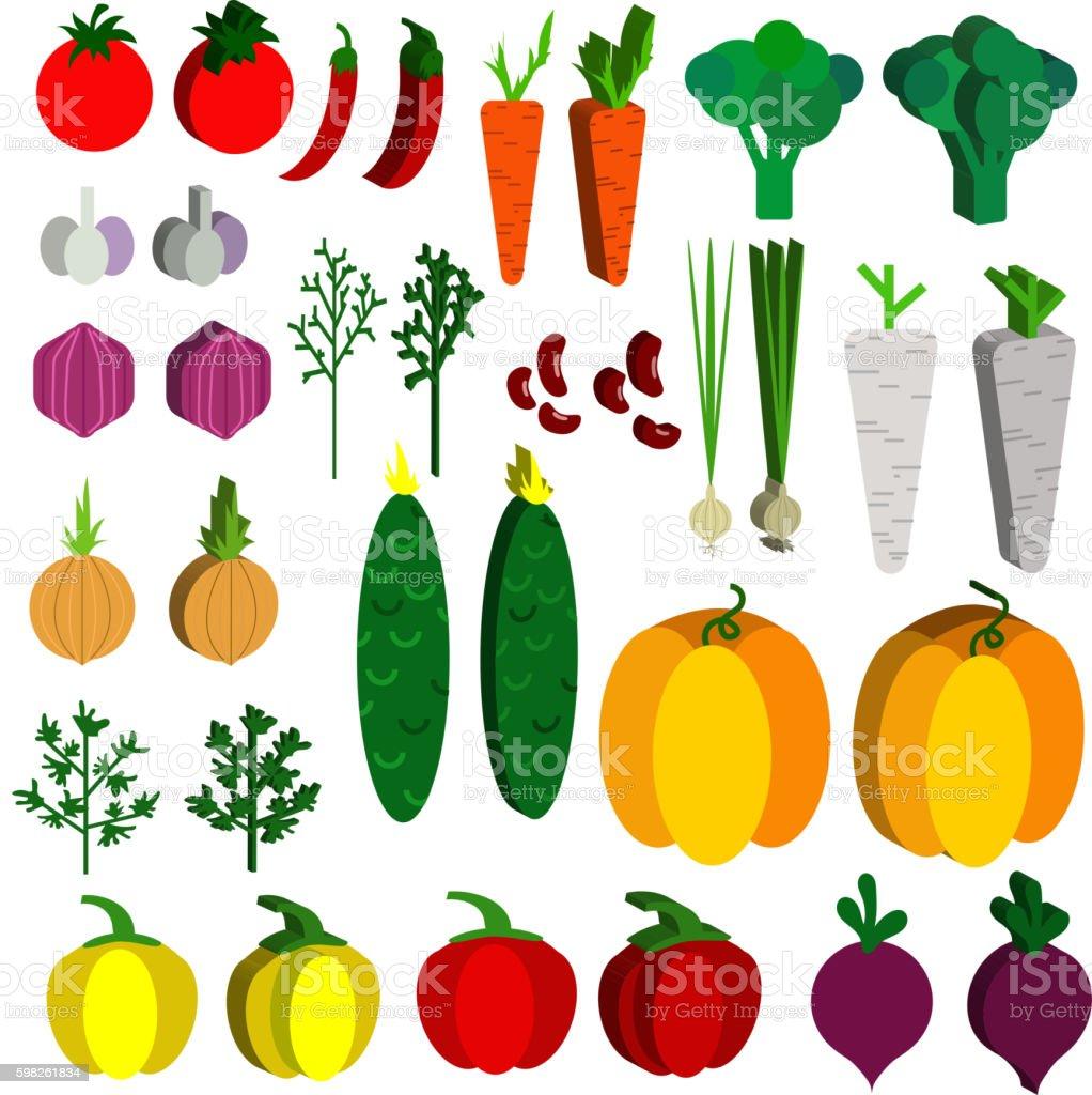 Paper vegetables flat style set on a background. Vector EPS vector art illustration