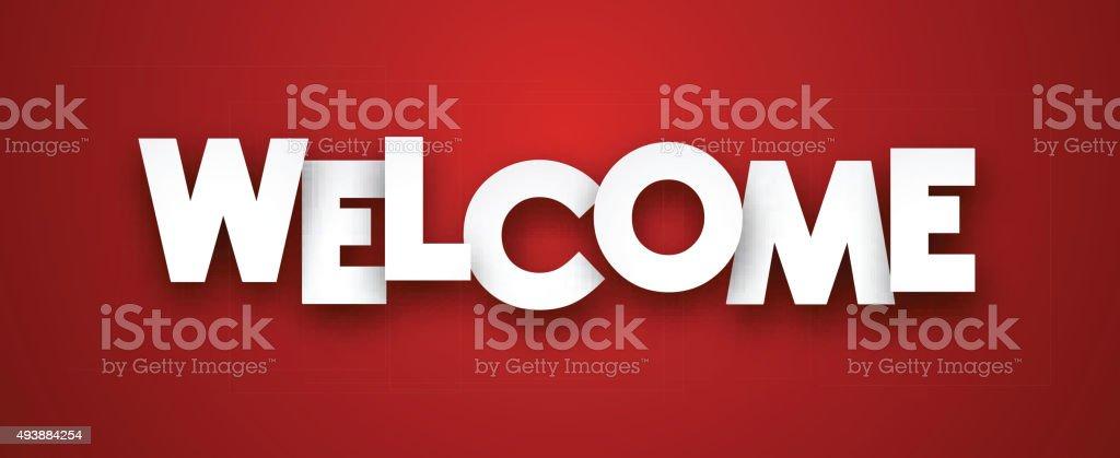 Paper welcome sign vector art illustration