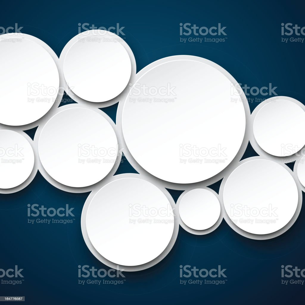 Paper white bubbles on dark blue. royalty-free stock vector art