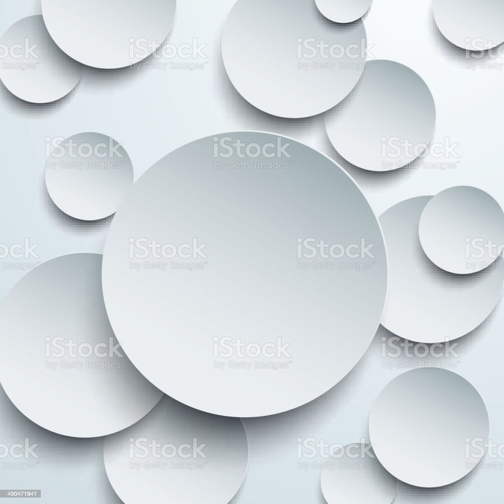 Paper white circles. vector art illustration