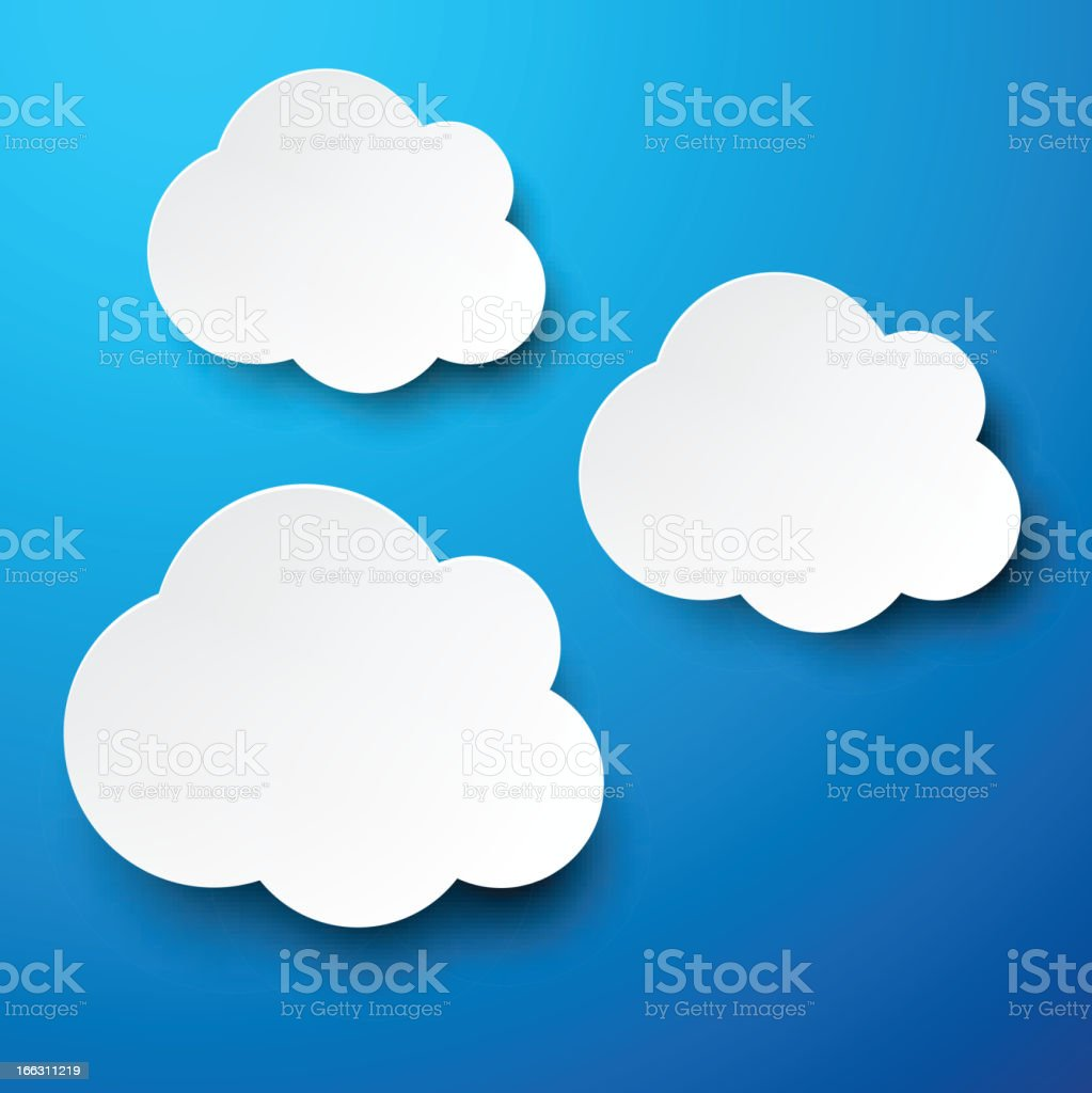 Paper white clouds on blue. royalty-free stock vector art