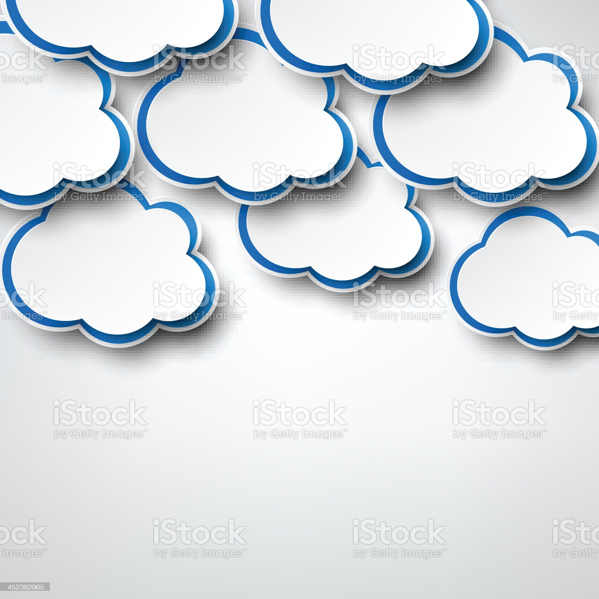 Paper white clouds on grey. royalty-free stock vector art