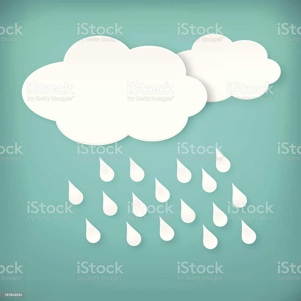 Paper white raining clouds on blue royalty-free stock vector art