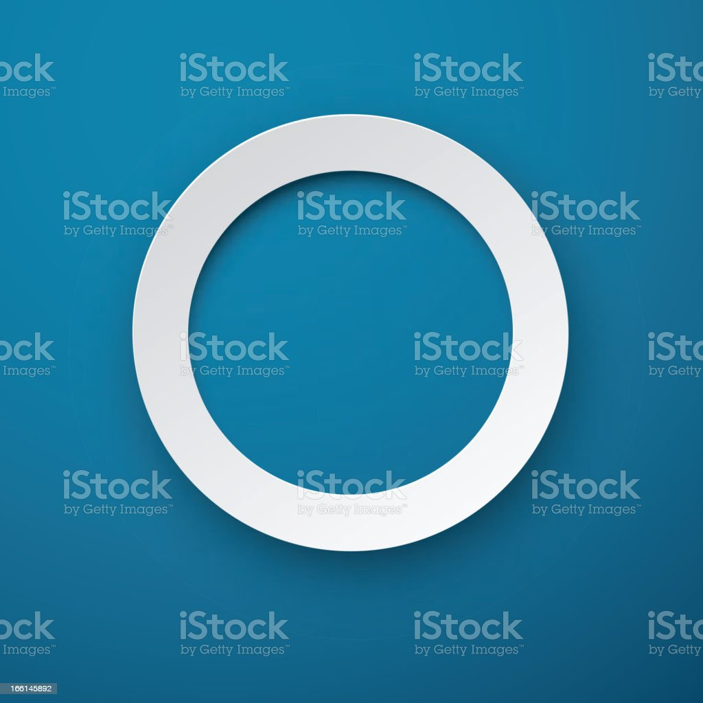 Paper white round note on blue. royalty-free stock vector art