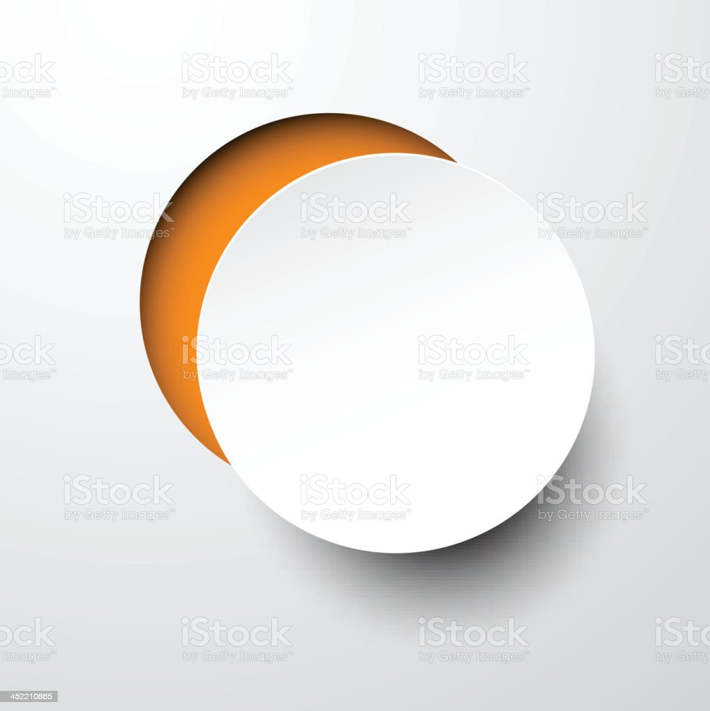 Paper white round note. vector art illustration