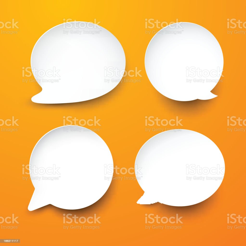 Paper white round speech bubbles. royalty-free stock vector art