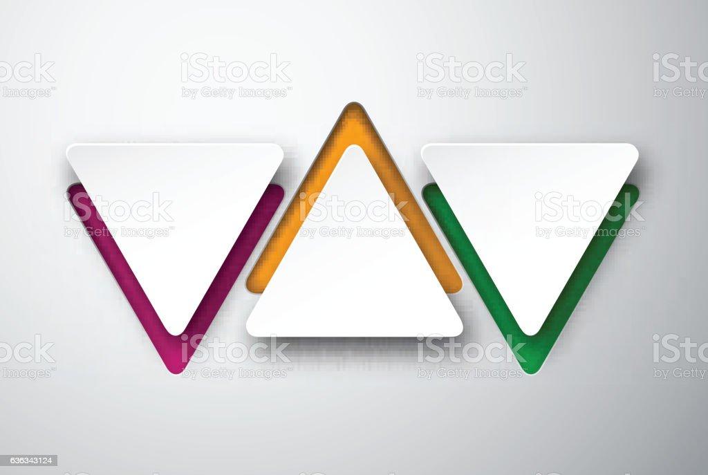 Paper white triangular notes. vector art illustration