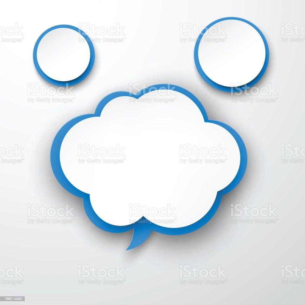 Paper white-blue cloud. vector art illustration