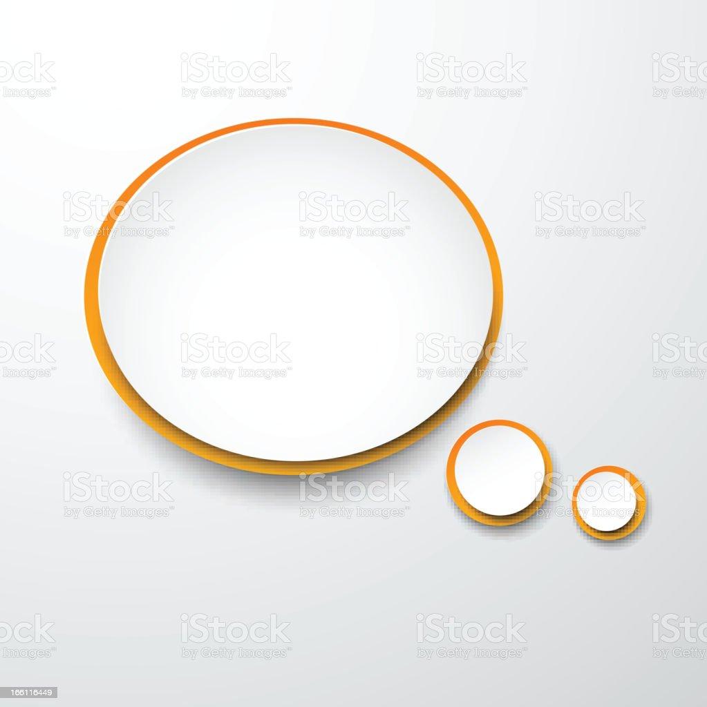 Paper white-orange round speech bubble. royalty-free stock vector art