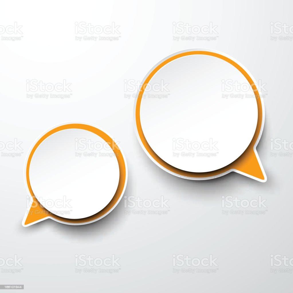 Paper white-orange round speech bubbles. royalty-free stock vector art