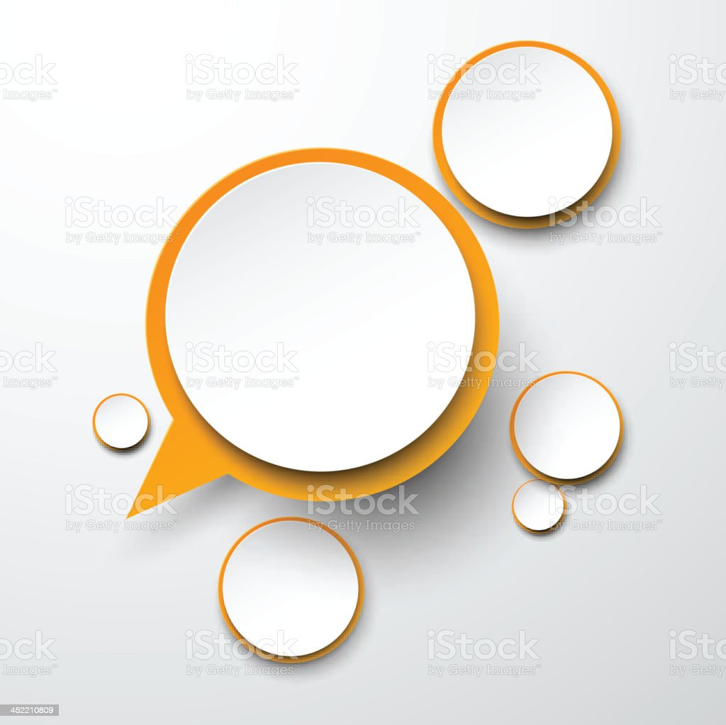 Paper white-orange round speech bubbles. vector art illustration