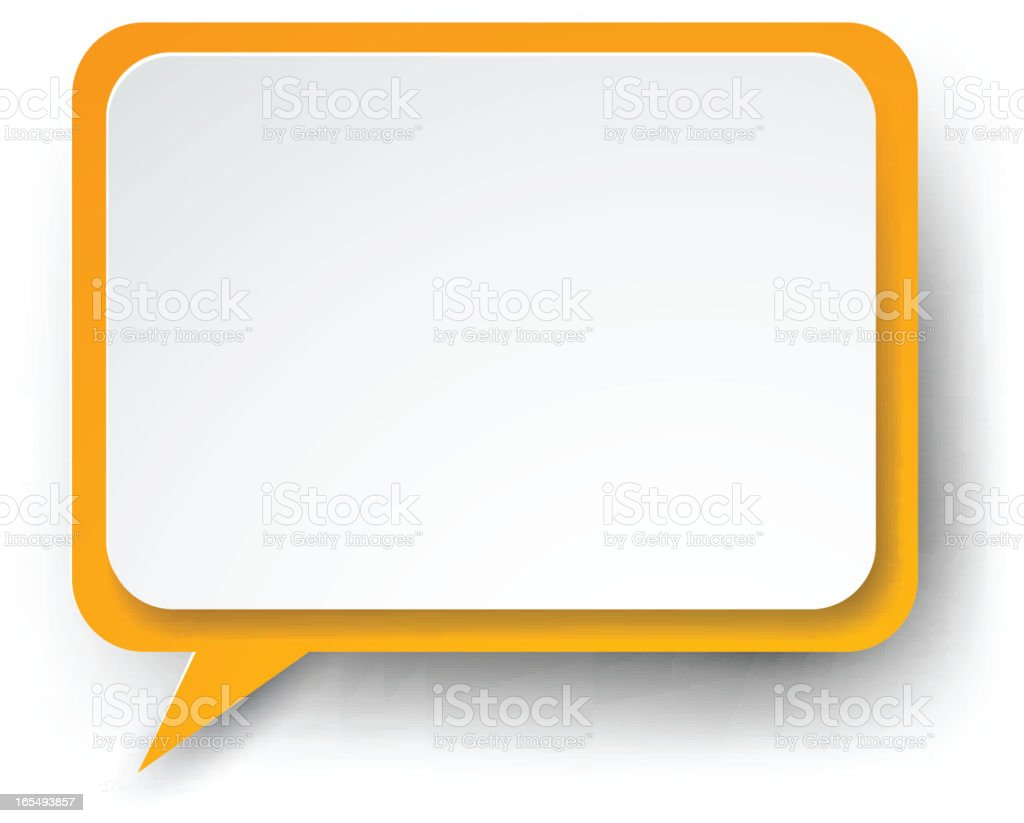 Paper white-orange speech bubble. royalty-free stock vector art