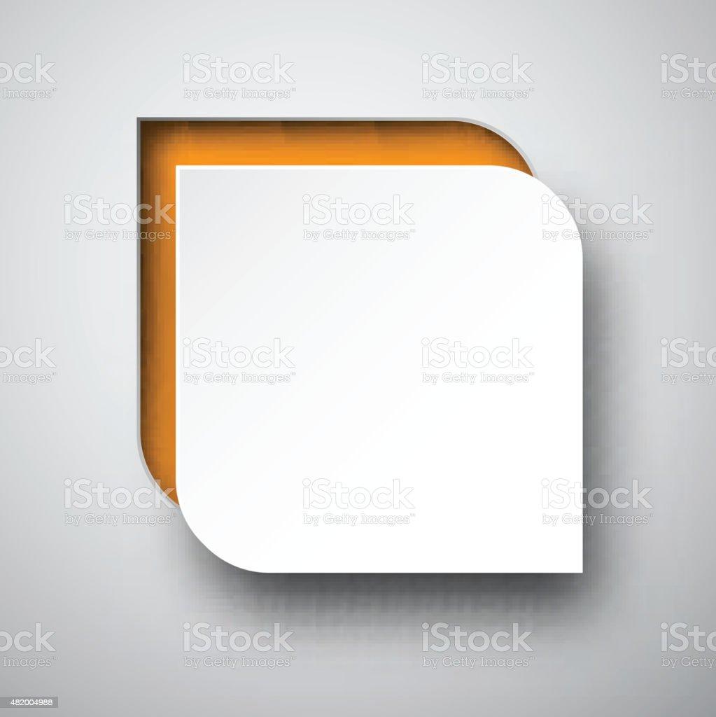 Paper white-orange speech bubble vector art illustration