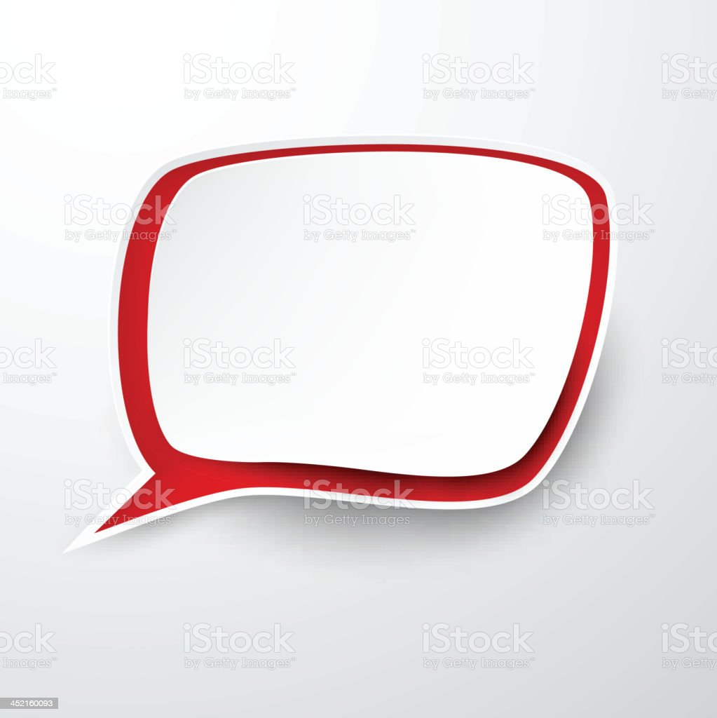 Paper white-red speech bubble. royalty-free stock vector art