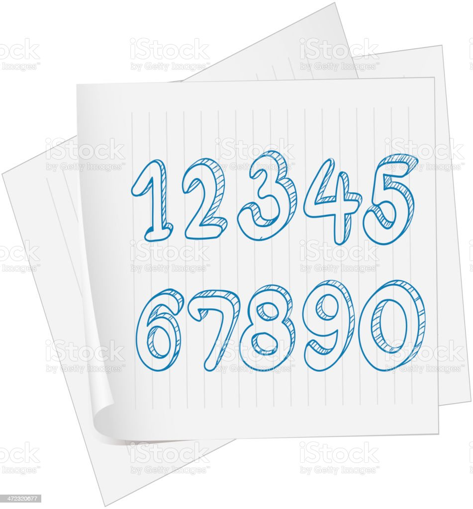 Paper with a drawing of numbers royalty-free stock vector art