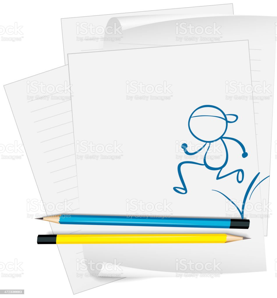 Paper with a sketch of man running vector art illustration