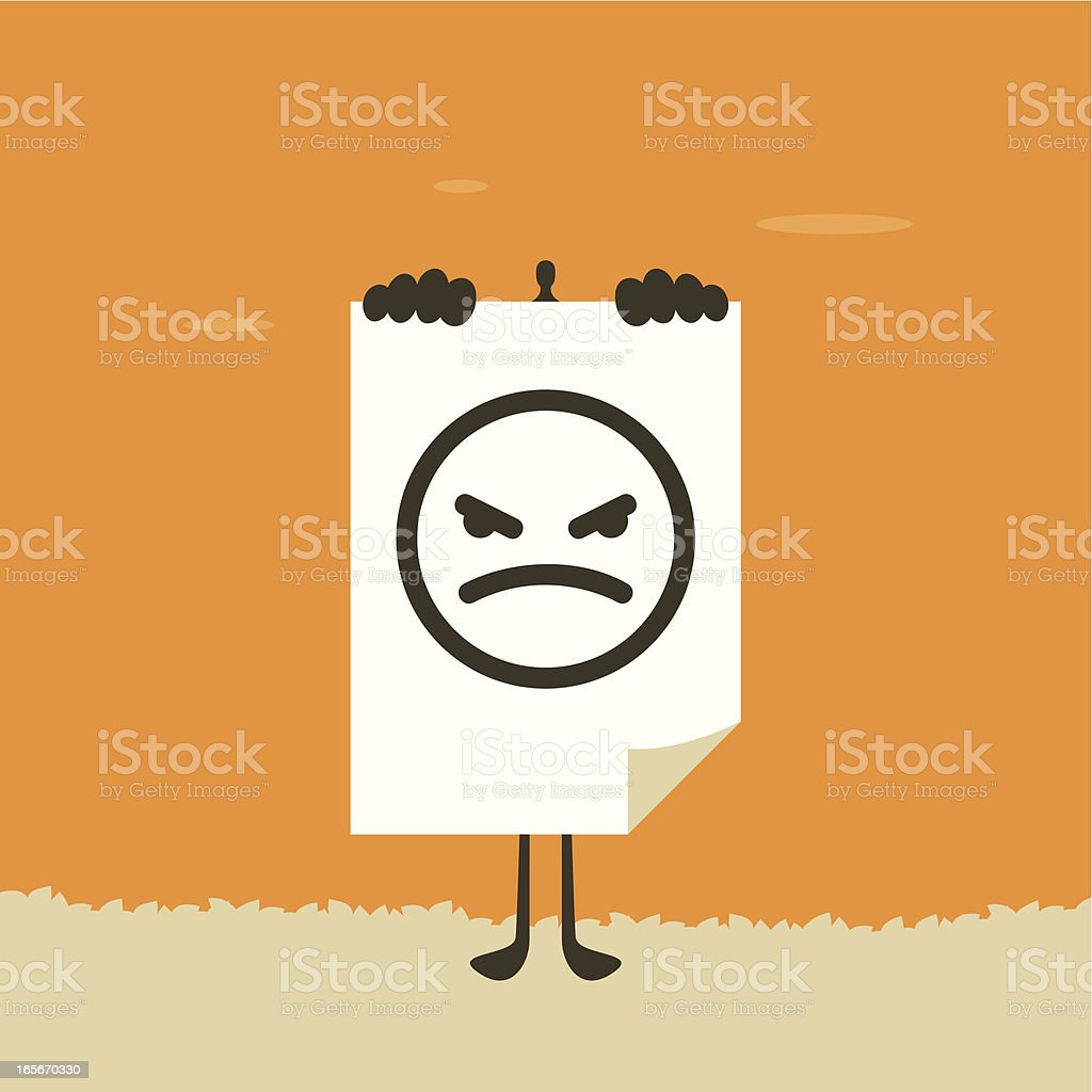 A paper with an angry face on it vector art illustration