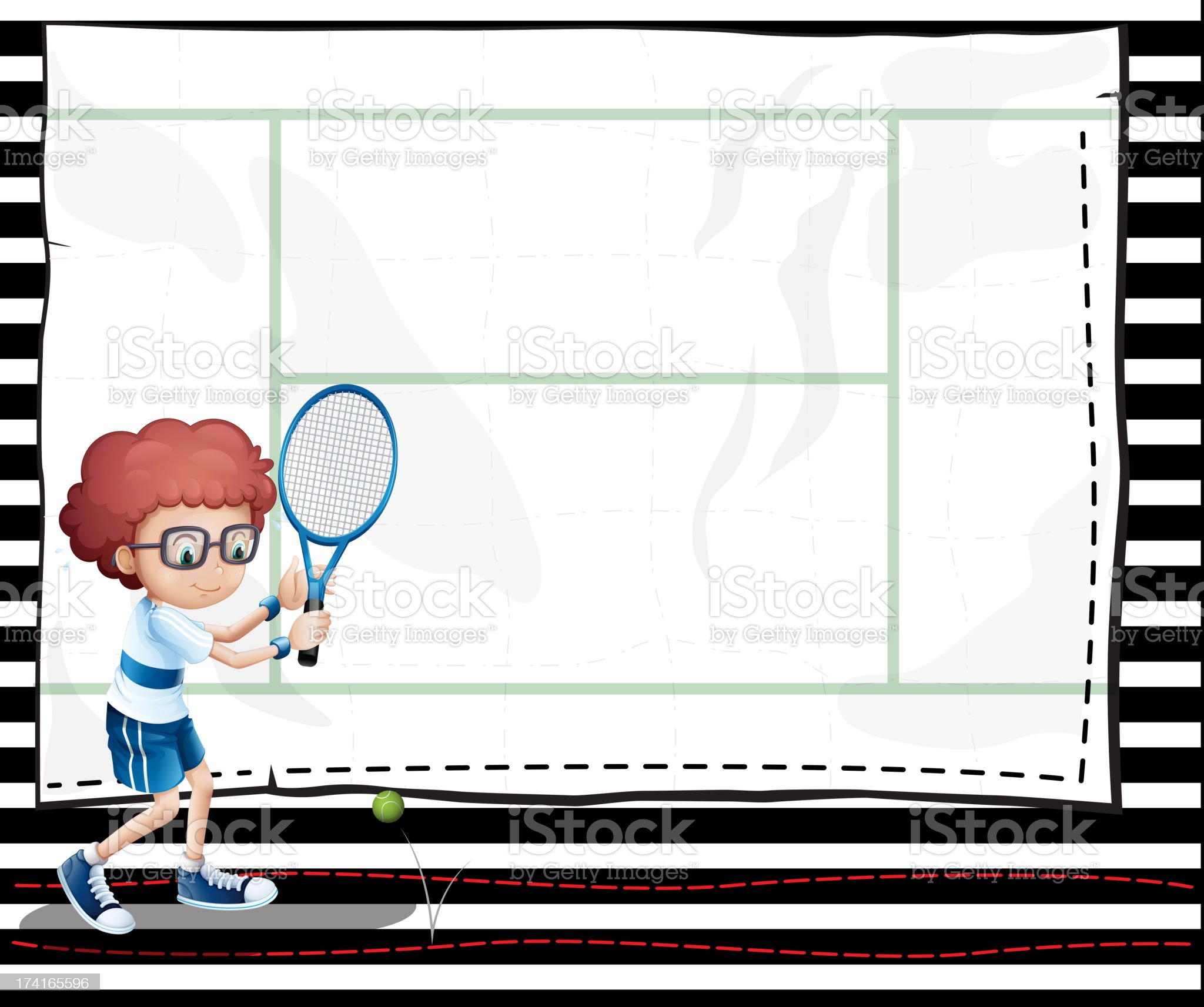 paper with an image of a boy playing tennis royalty-free stock vector art