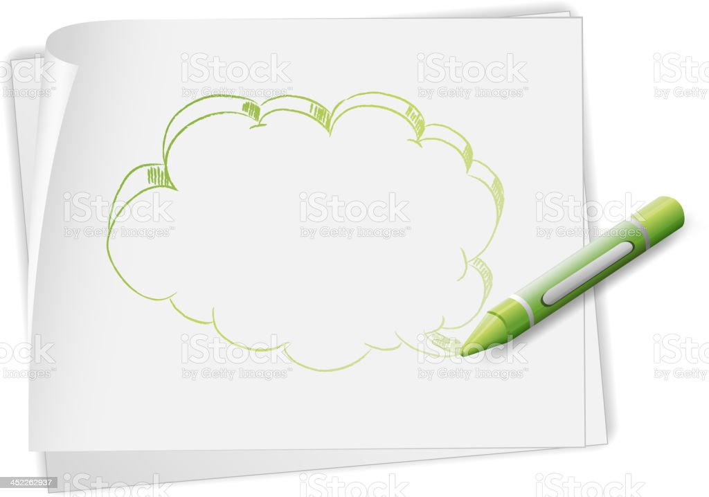 Paper with an image of callout and crayon royalty-free stock vector art