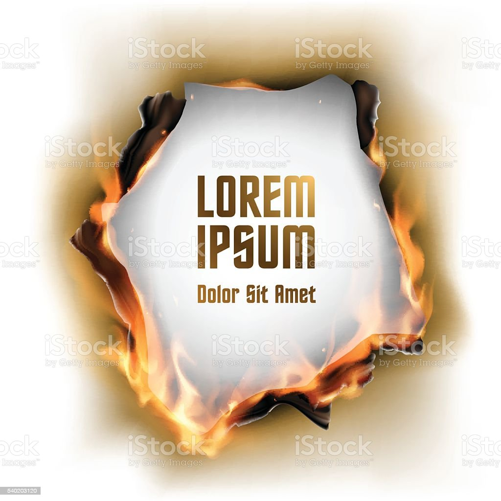 Paper with burnt hole and flame vector art illustration