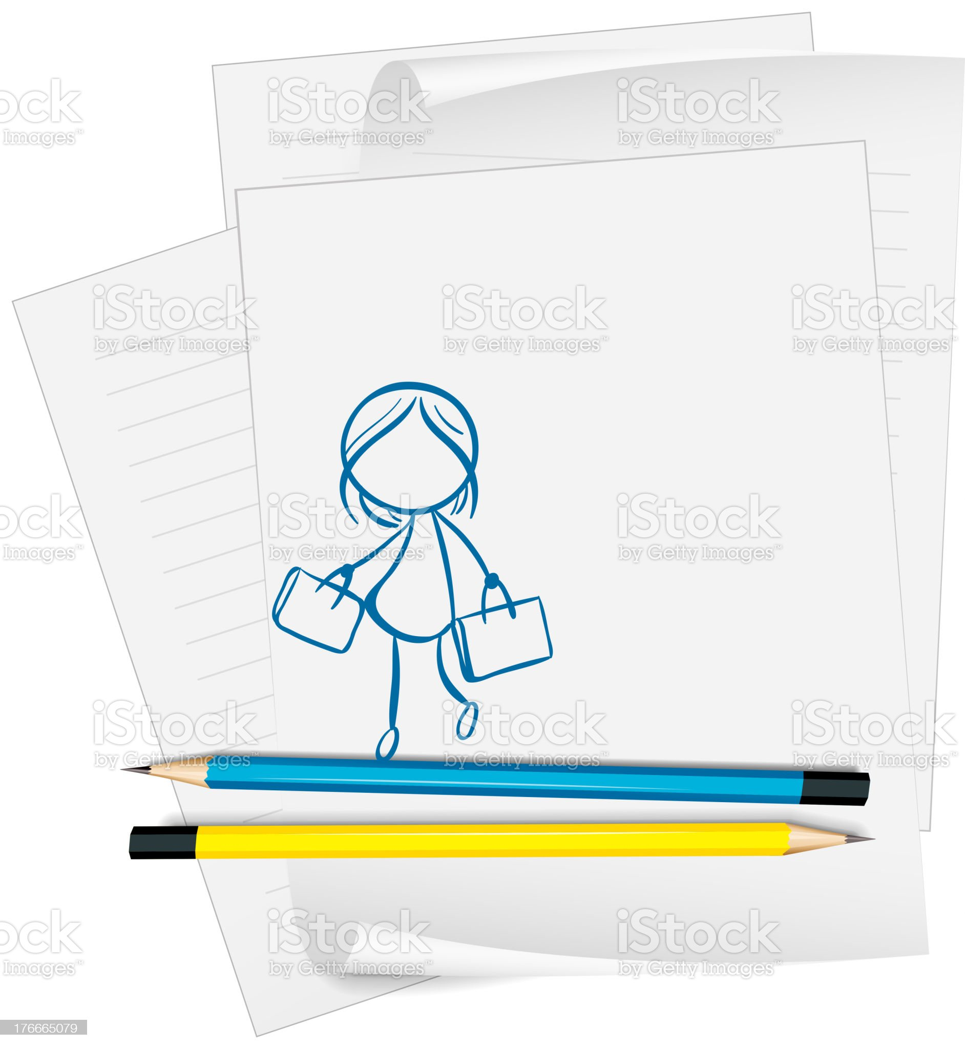 paper with  drawing of a girl holding two bags royalty-free stock vector art