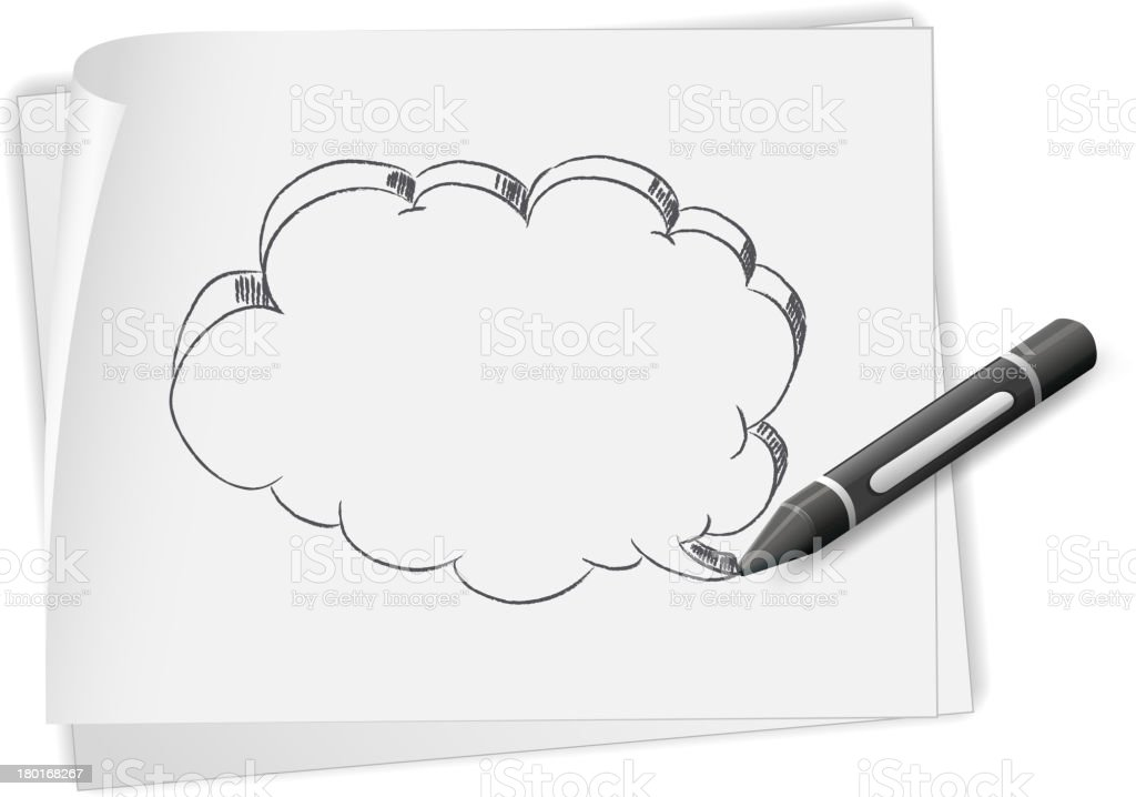 Paper with drawing of empty callout and a crayon royalty-free stock vector art