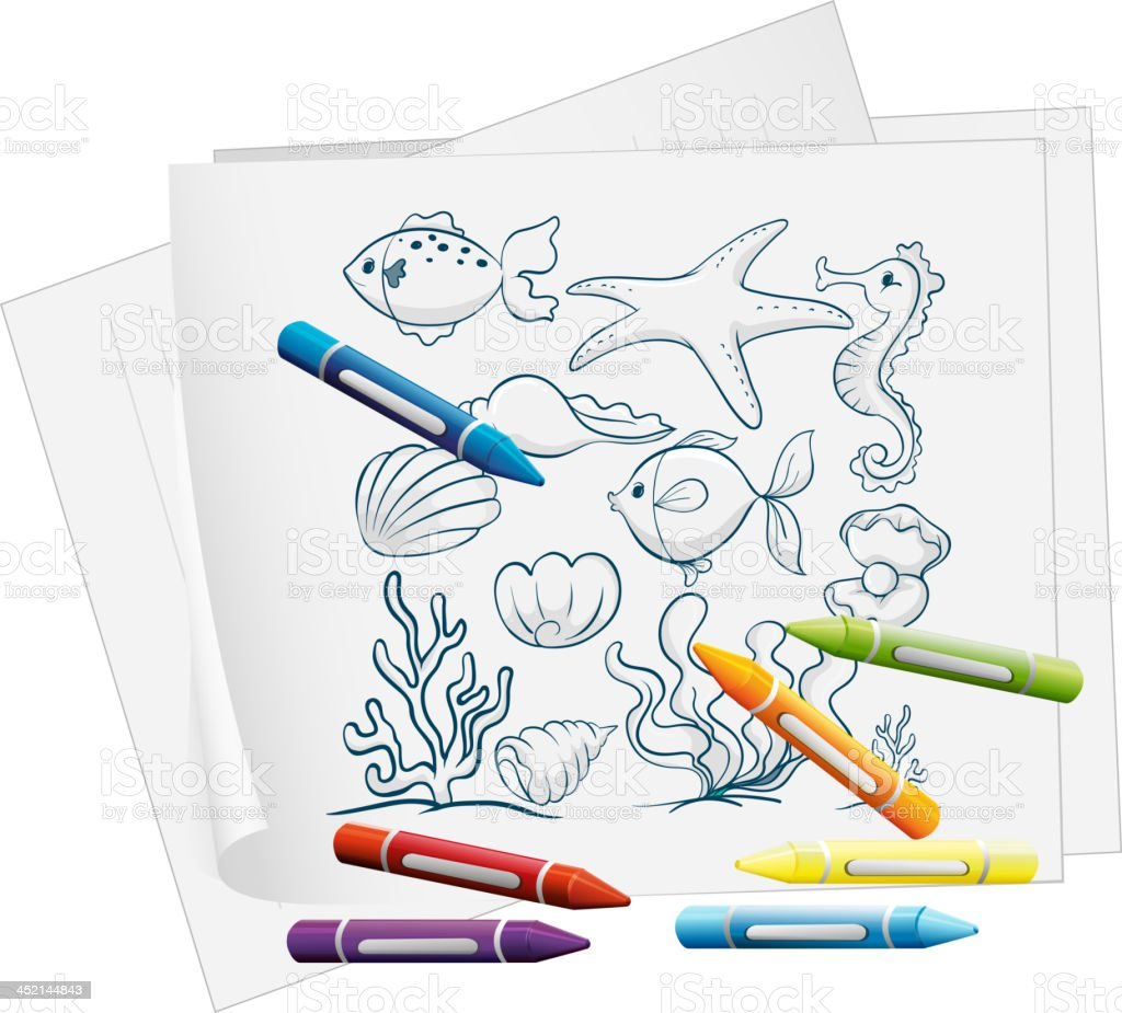 Paper with drawing of the different sea creatures royalty-free stock vector art