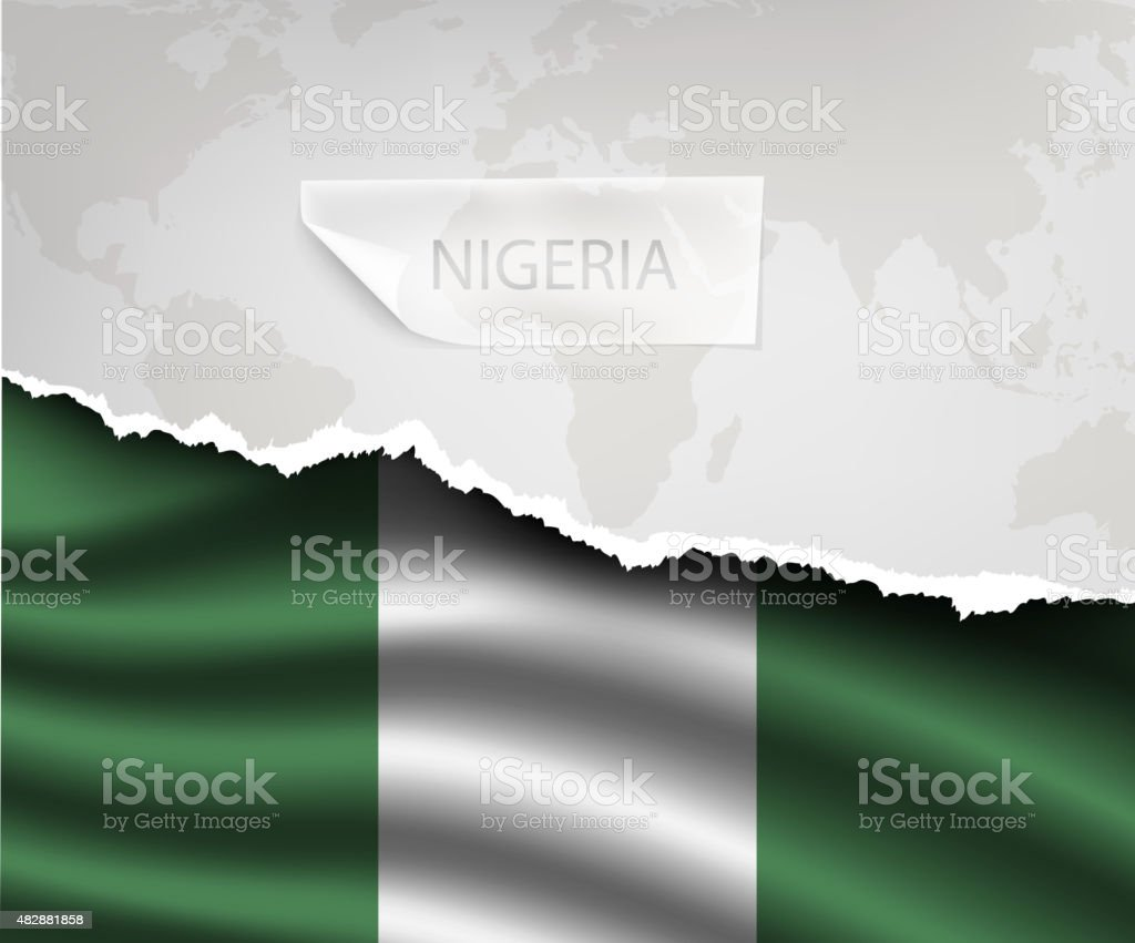paper with hole and shadows NIGERIA flag vector art illustration
