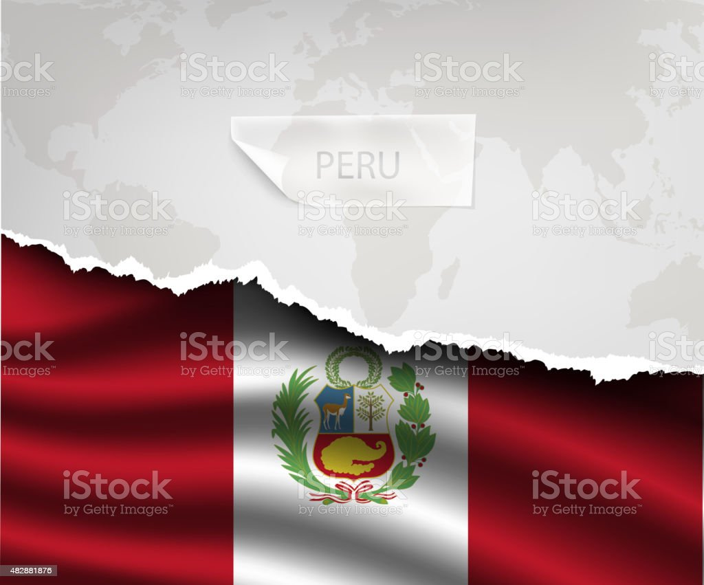 paper with hole and shadows PERU flag vector art illustration