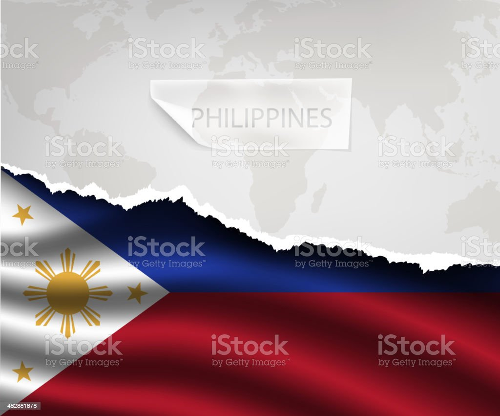 paper with hole and shadows PHILIPPINES flag vector art illustration