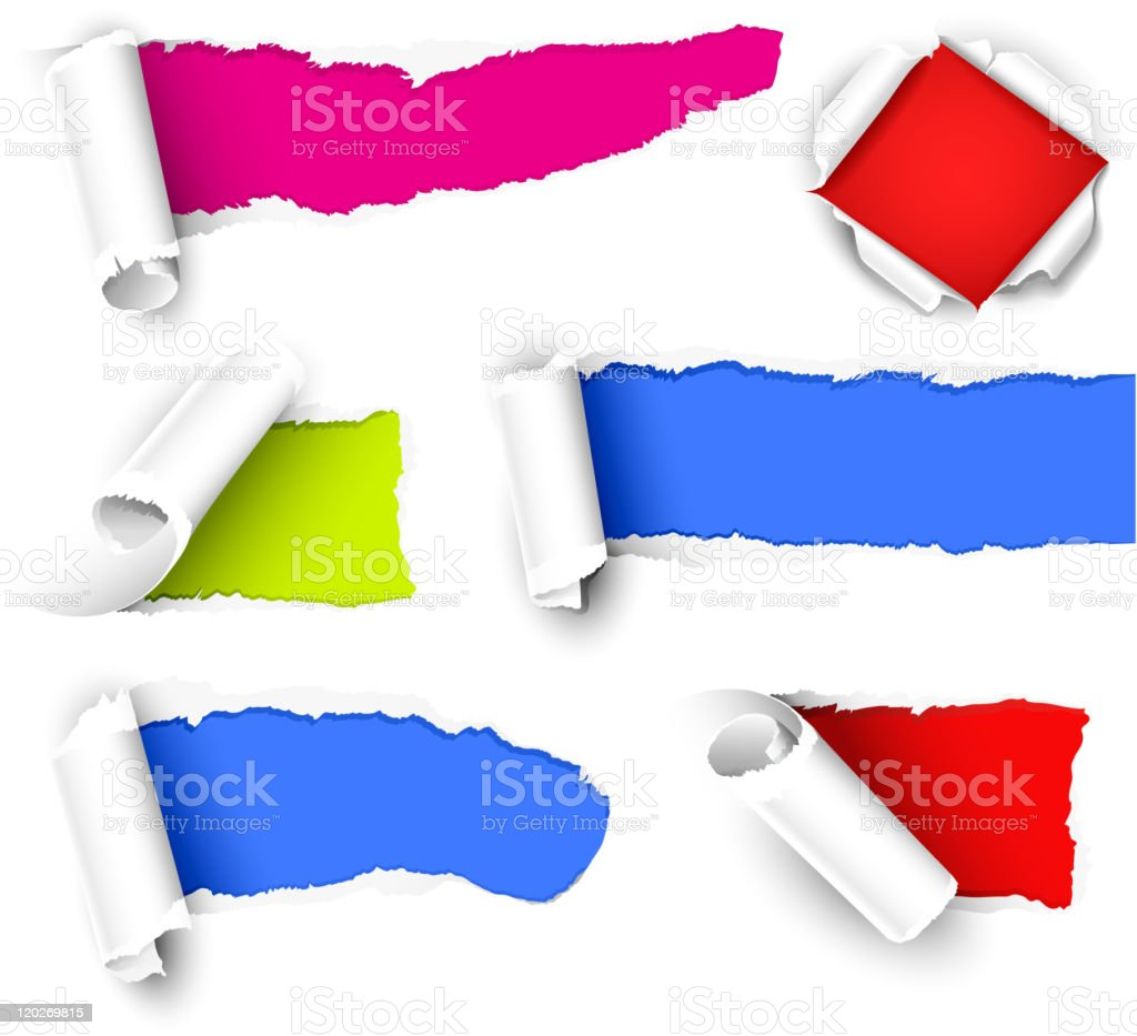 A paper with shreds showing color underneath royalty-free stock vector art