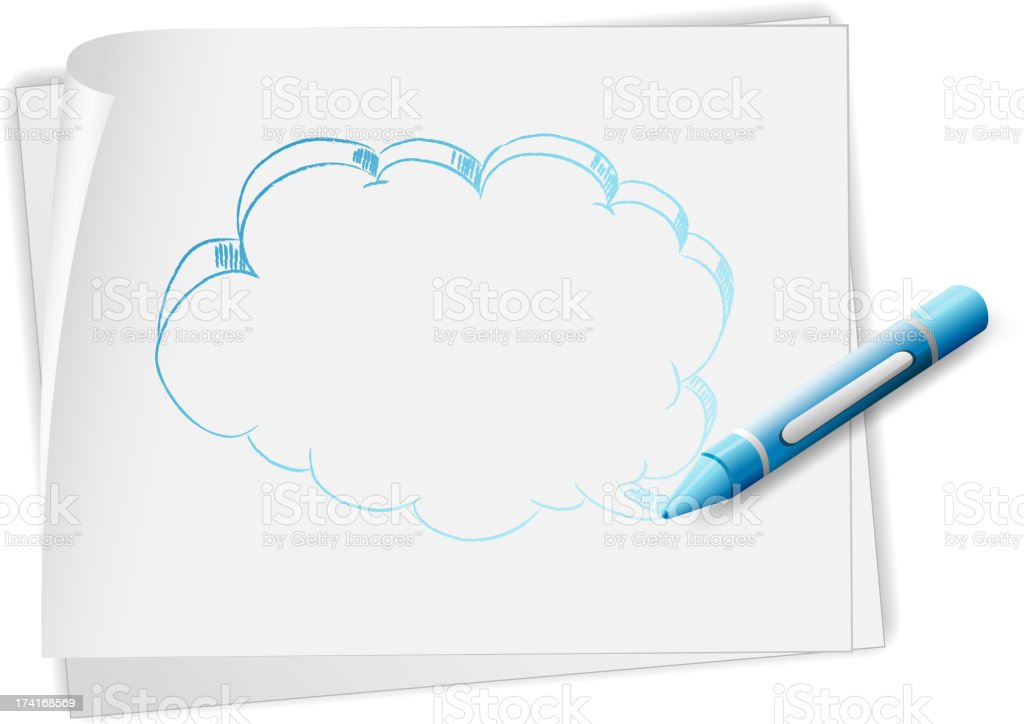 paper with  sketch of  callout and a blue crayon royalty-free stock vector art